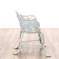 White Wrought Iron Floral Patio Chair & Table | Loveseat ...