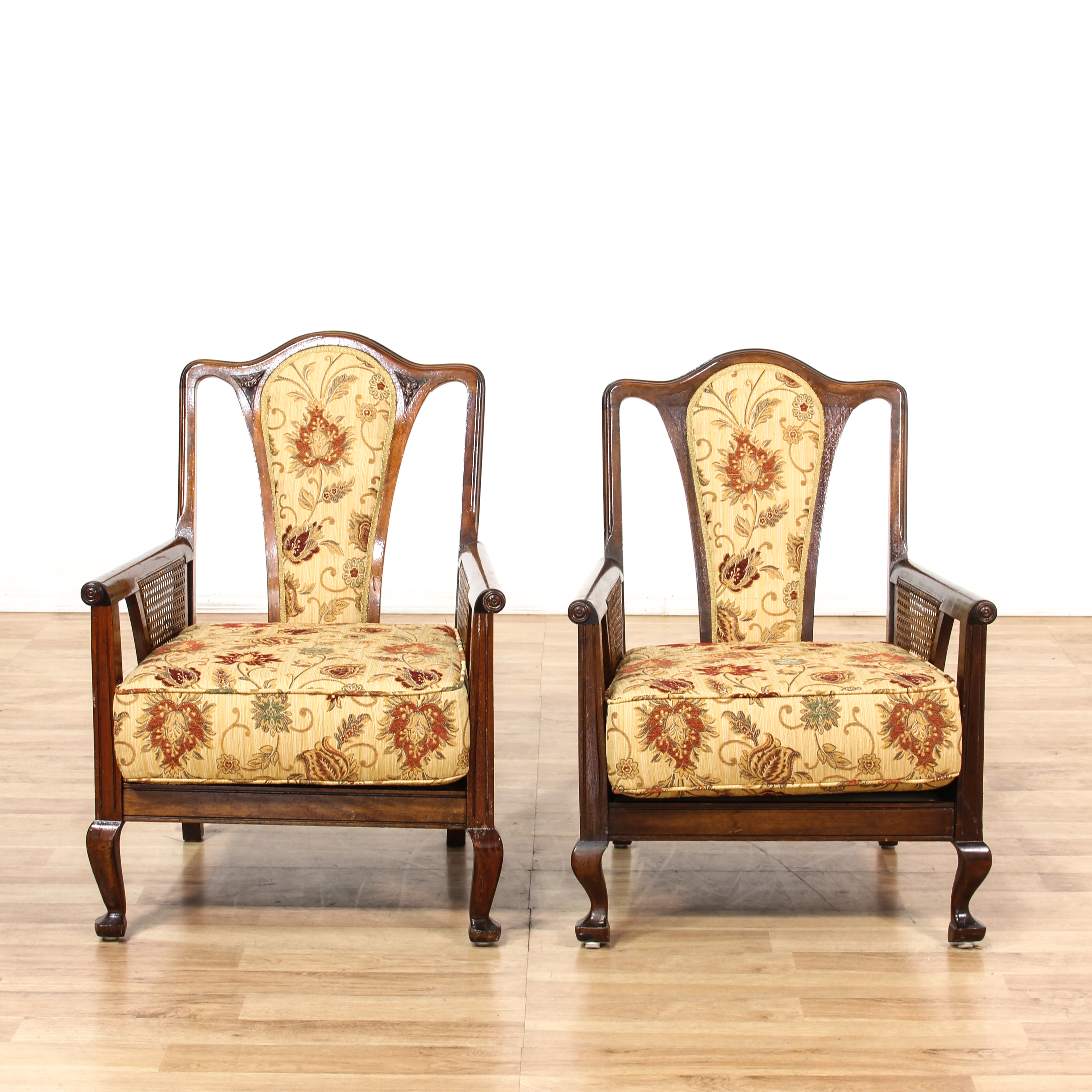floral upholstered chair office knobs pair mahogany cane arm chairs