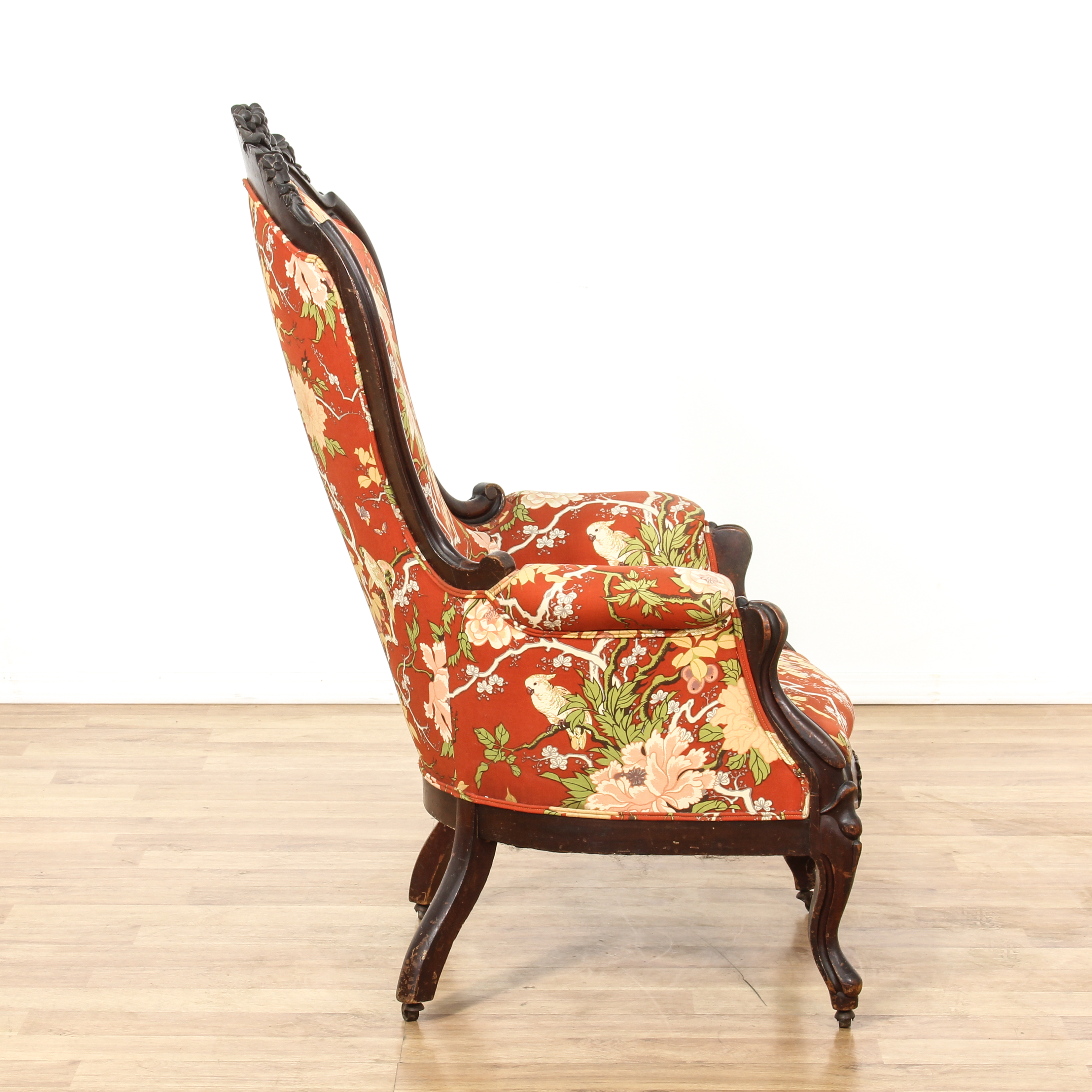 floral upholstered chair refurbished barber chairs red carved victorian side