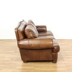 Brown Leather Studded Sofa Formal Living Room Sofas Ralph Lauren Style Loveseat Vintage