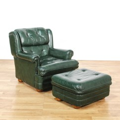 Dark Green Recliner Chair Rustic Kitchen Chairs Leather Upholstered And Ottoman Loveseat