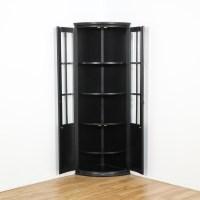 Black Curved Glass Corner Curio Cabinet | Loveseat Vintage ...