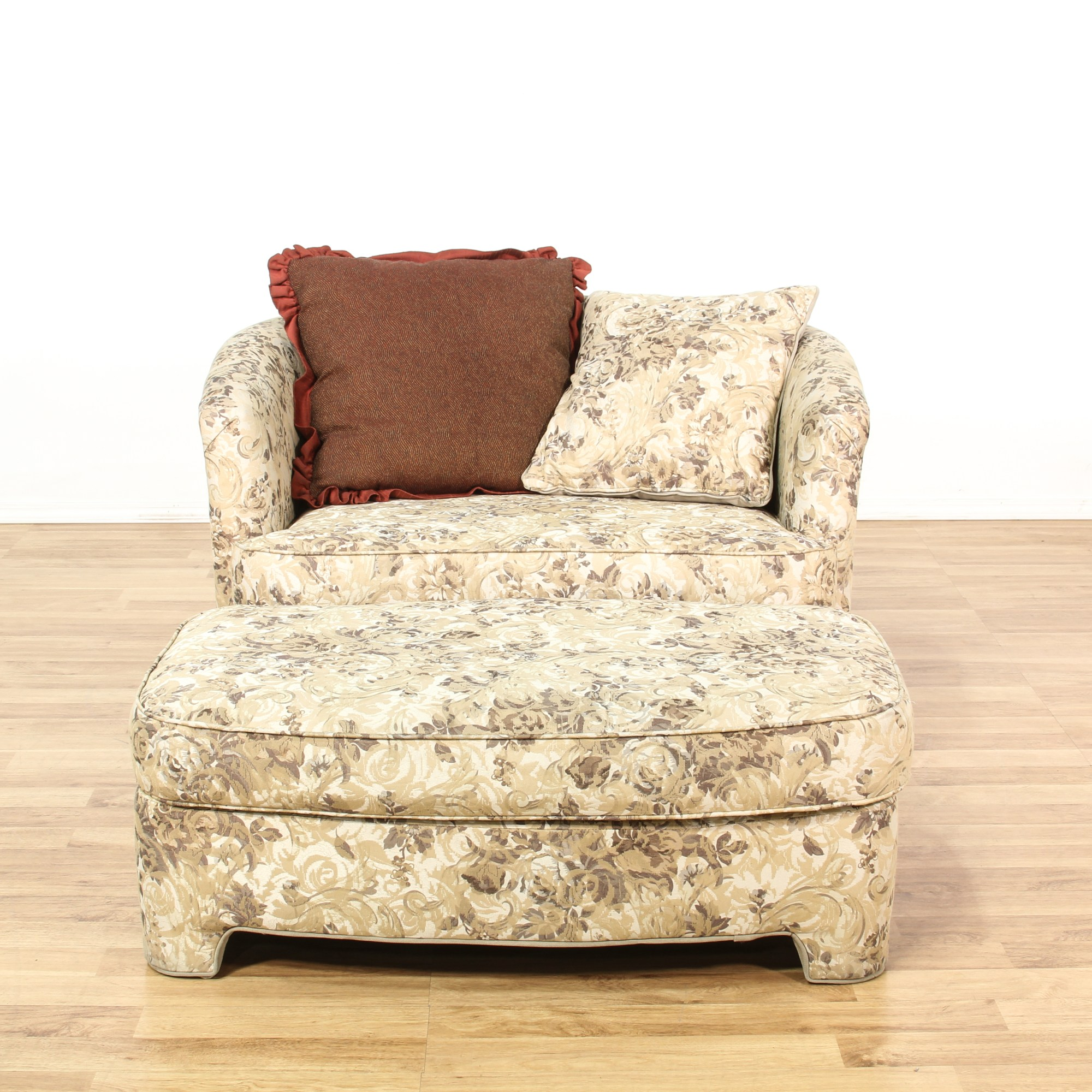 Floral Chairs Floral Upholstered Round Back Chair And Ottoman Loveseat