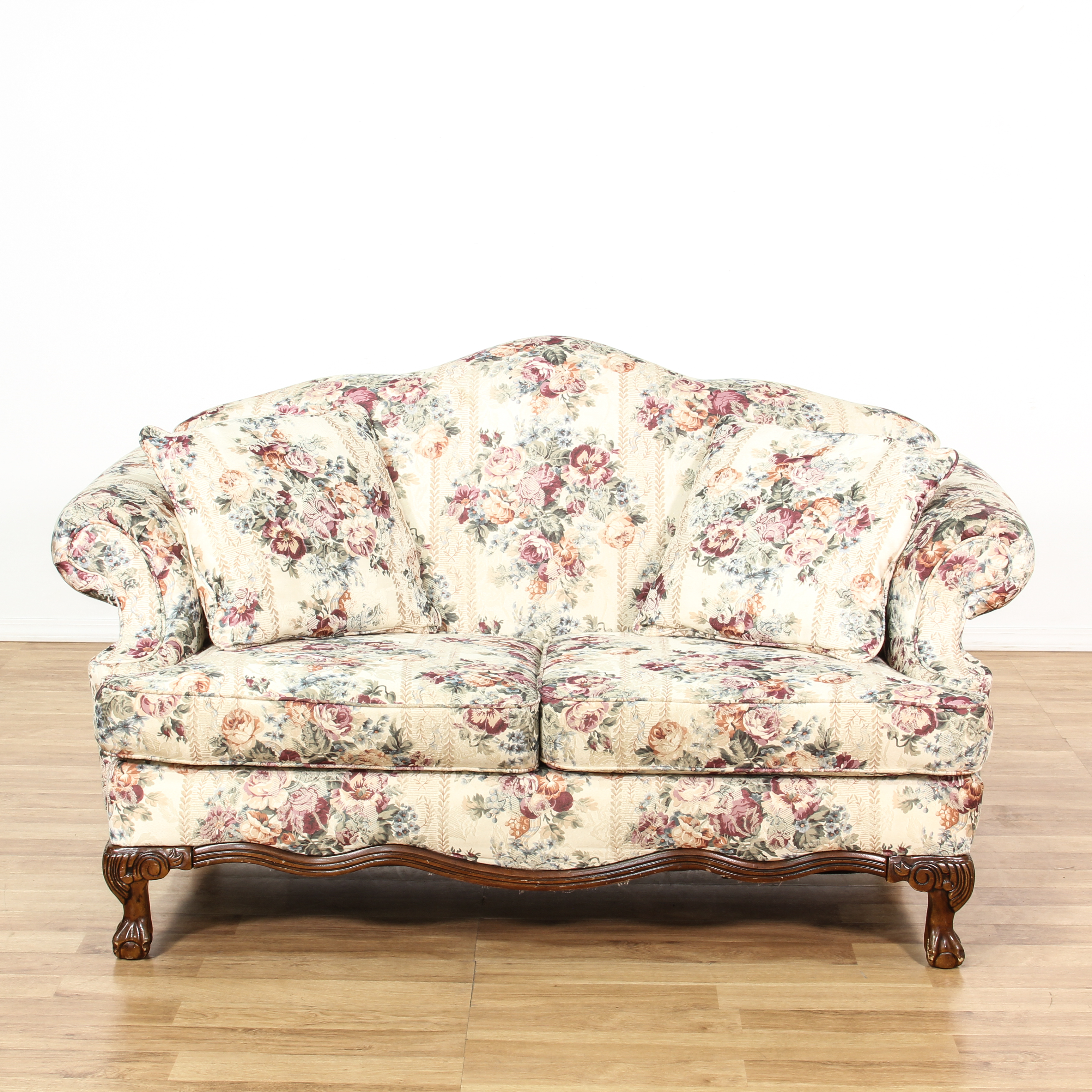 floral sectional sofa shallow dimensions curved back white loveseat vintage