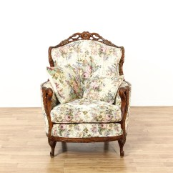 Floral Upholstered Chair Yellow Parsons Carved Armchair Loveseat Vintage