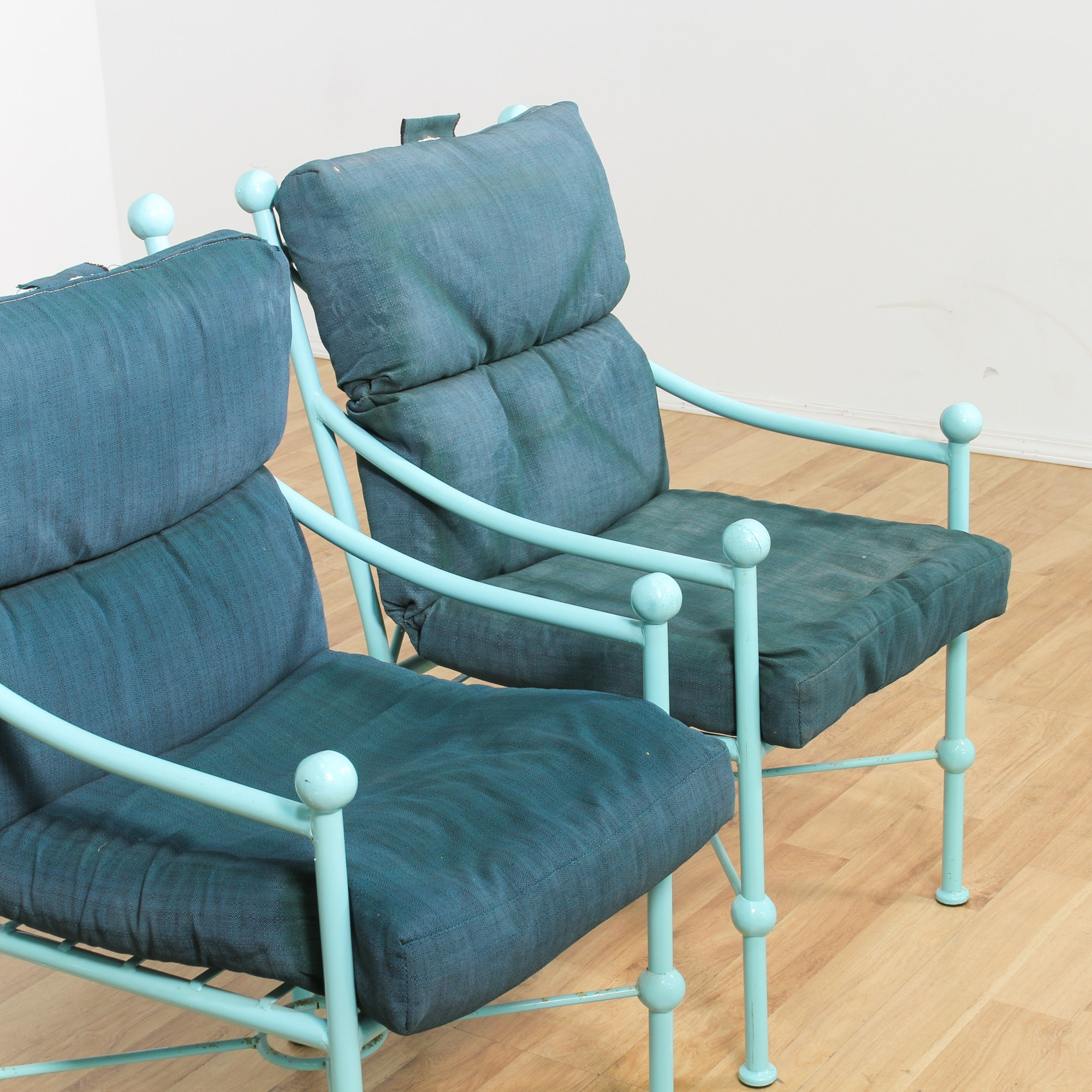 4 Turquoise Painted Upholstered Patio Chairs Loveseat