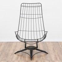 Mid Century Modern Homecrest Black Wireframe Chair ...