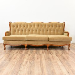 French Country Sofa Fabric Small Sectional With Recliner And Chaise Tan Provincial Wingback Loveseat Vintage