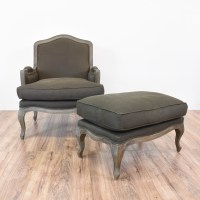 Charcoal Gray French Bergere Chair & Ottoman | Loveseat ...