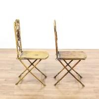 Pair of Yellow Shabby Chic Metal Folding Chairs | Loveseat ...