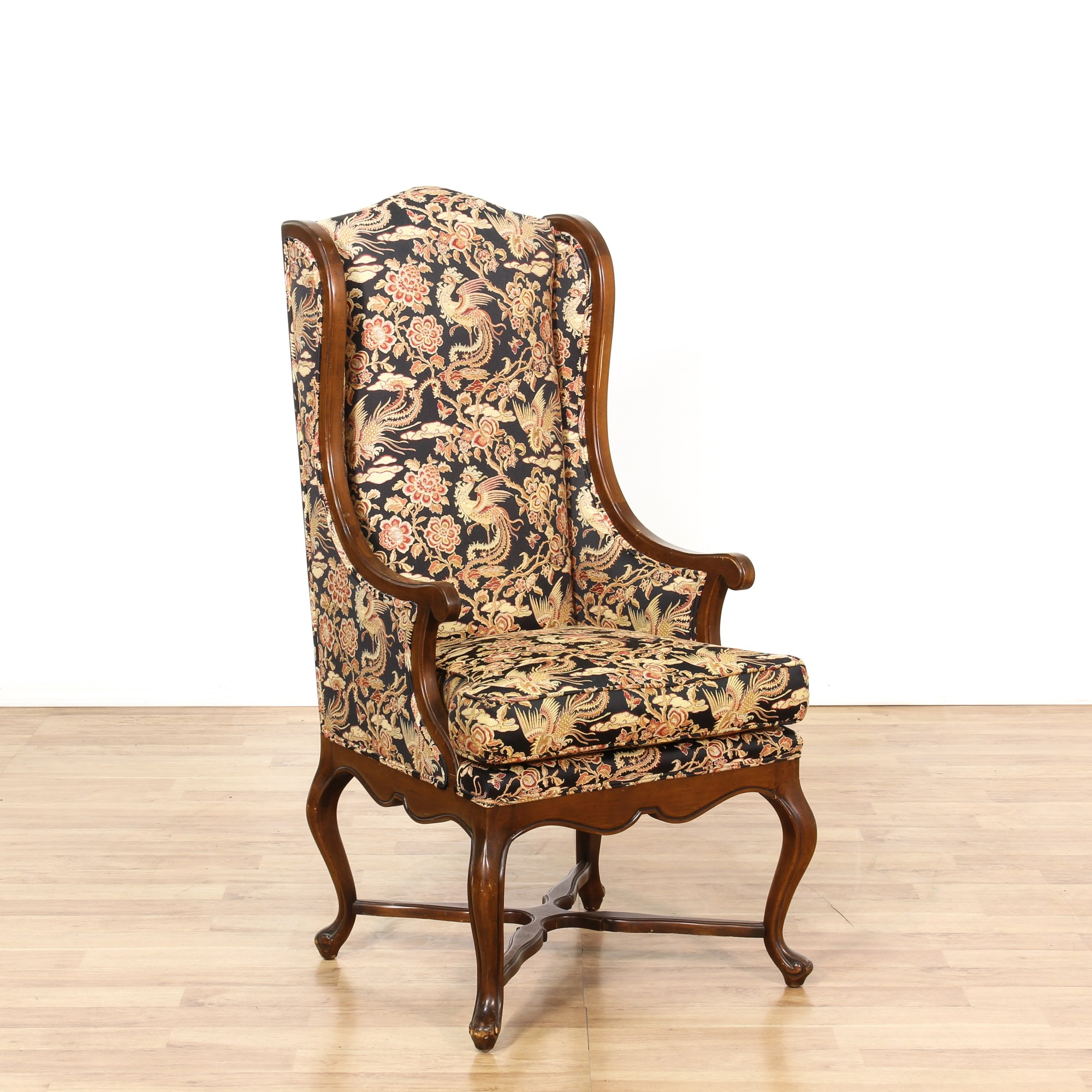Floral Chairs Tall Walnut Floral Wingback Accent Chair Loveseat
