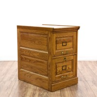 Solid Oak 2 Drawer Filing Cabinet