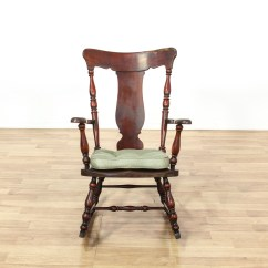 Antique Rocking Chair Double Chaise Lounge Early American Splat Back Loveseat