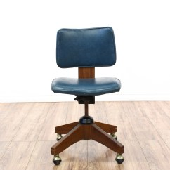 Desk Chair Retro Maestro Pedicure Spa Blue Vinyl Cherry Swivel Office Loveseat