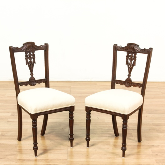 """Buccola"" Federal Style White Carved Side Chairs"