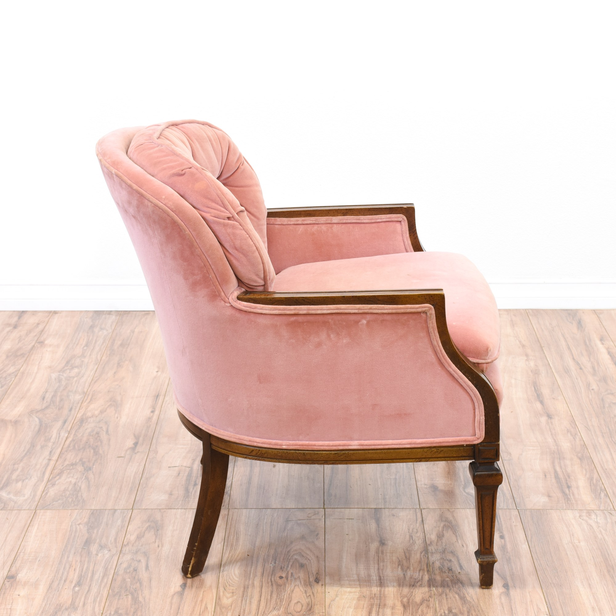Pink Velvet Tufted Accent Chair  Loveseat Vintage