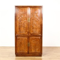 """Henredon"" Chinese Linen Press Cabinet 