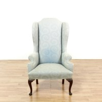 Light Blue Leaf Print Tall Wingback Armchair   Loveseat ...