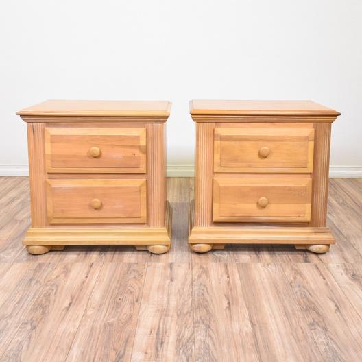 pair of carved light wood nightstands loveseat com san diego