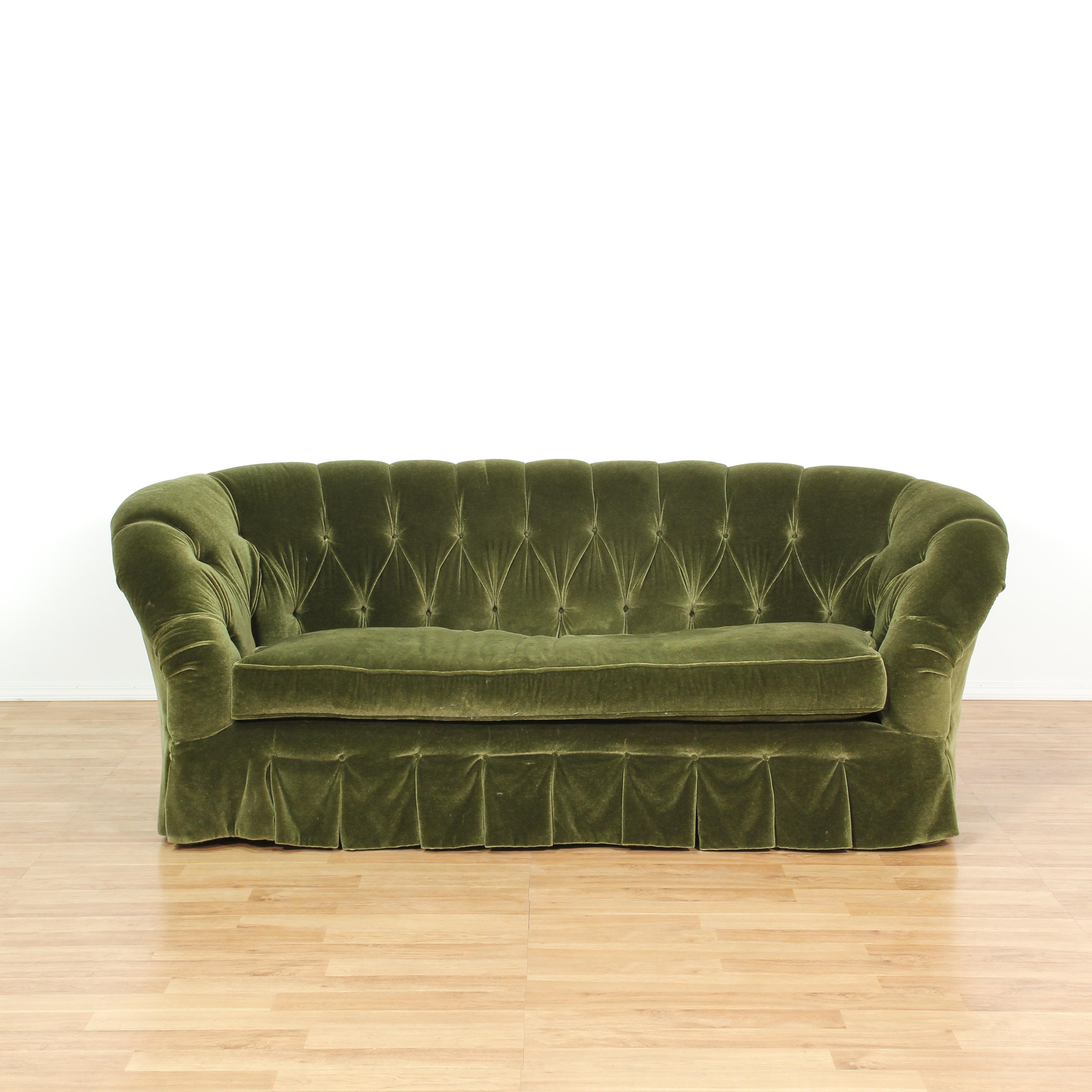 emerald green velvet sofa bed houston cut tufted loveseat vintage furniture