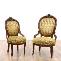 Pair of Victorian Upholstered Chairs | Loveseat Vintage ...