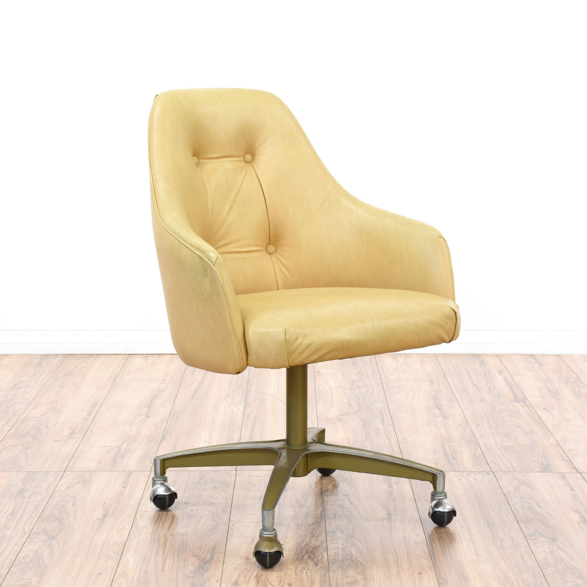 Mid Century Modern Beige Vinyl Office Chair