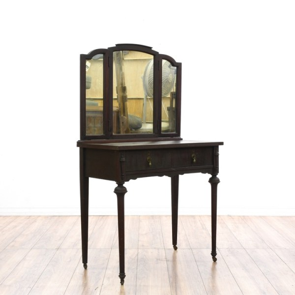 Antique Vanity w Trifold Mirror Loveseat Vintage