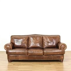 Brown Leather Studded Sofa Reclining Loveseat Set Ralph Lauren Style Vintage