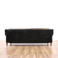 Black Vinyl Futon Sofa Leather Cheap Uk Mid Century Modern Roll Out Bed