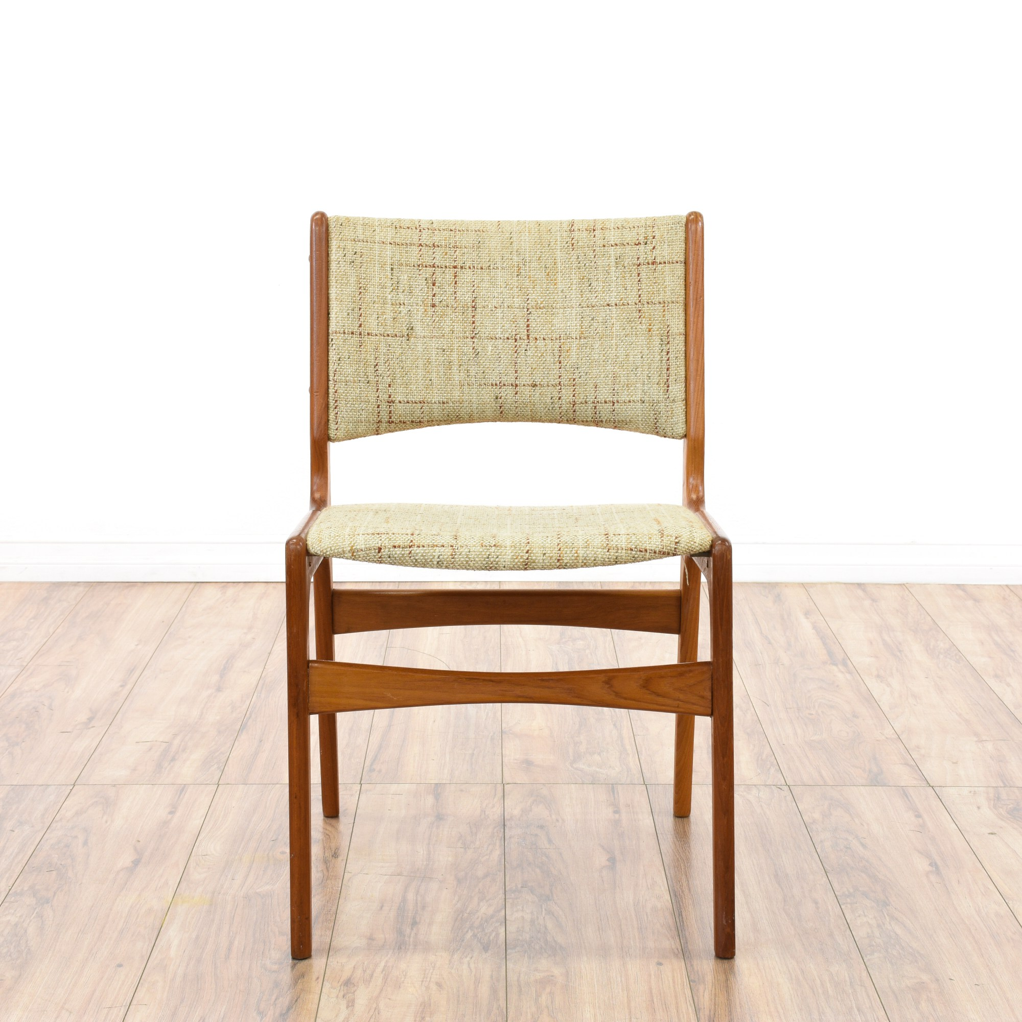 Mid Century Modern Plaid Tweed Accent Chair