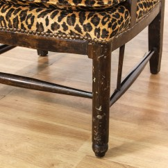 Leopard Print Accent Chair Mint Sashes Carved Wood Loveseat Vintage