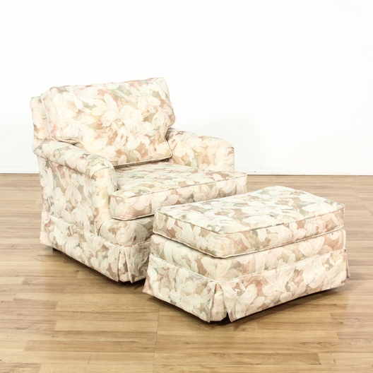 Cottage Chic Floral Print Armchair Ottoman Loveseat