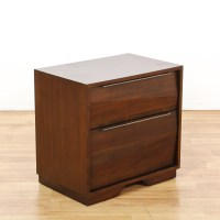 2 Drawer Mid Century Modern Nightstand