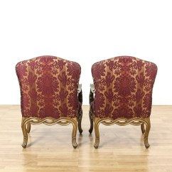 Damask Accent Chair Kitchen Covers Cheap Pair Of Purple Striped Chairs Loveseat