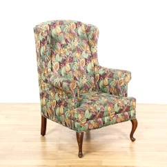Floral Arm Chair Folding Padded Chairs Wingback 2 Loveseat Vintage Furniture