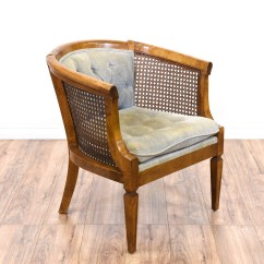 Cane Barrel Chair Office Mat Maple Tufted Loveseat Vintage