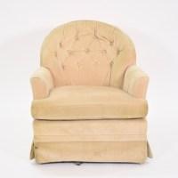 Cream Upholstered Swivel Club Chair | Loveseat Vintage ...