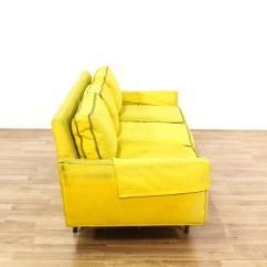 Bright Sofa Stylish Reclining Yellow Mid Century Modern Loveseat Vintage