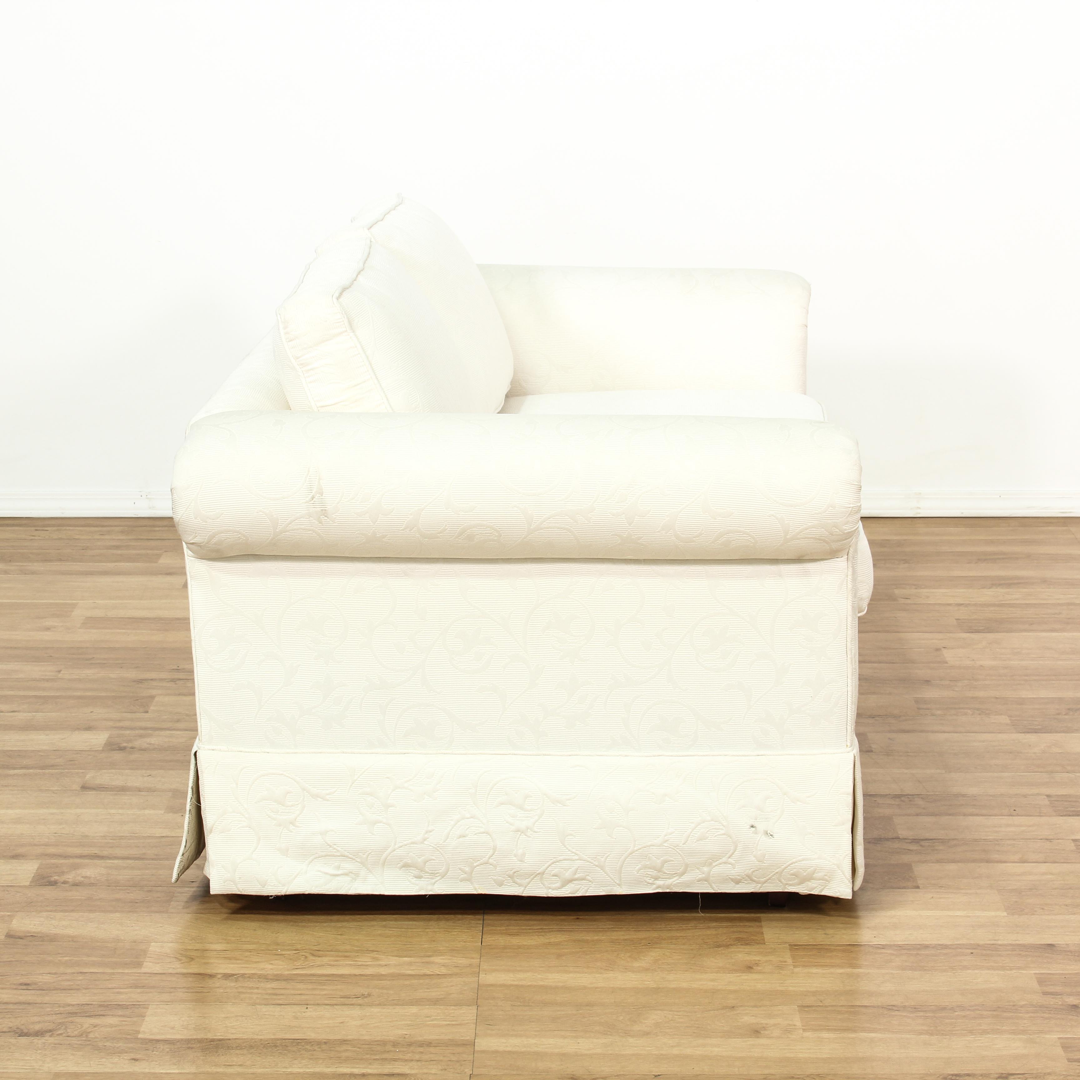 damask sofa bed living room set white loveseat couch vintage furniture