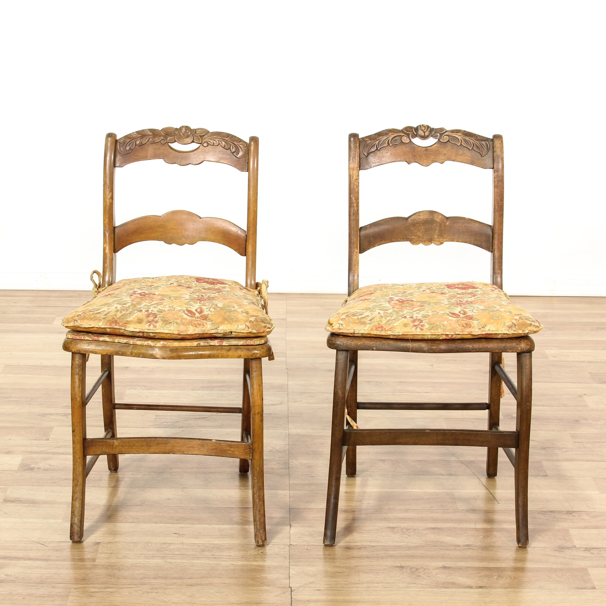Pair of Rustic Carved Cottage Chic Accent Chairs