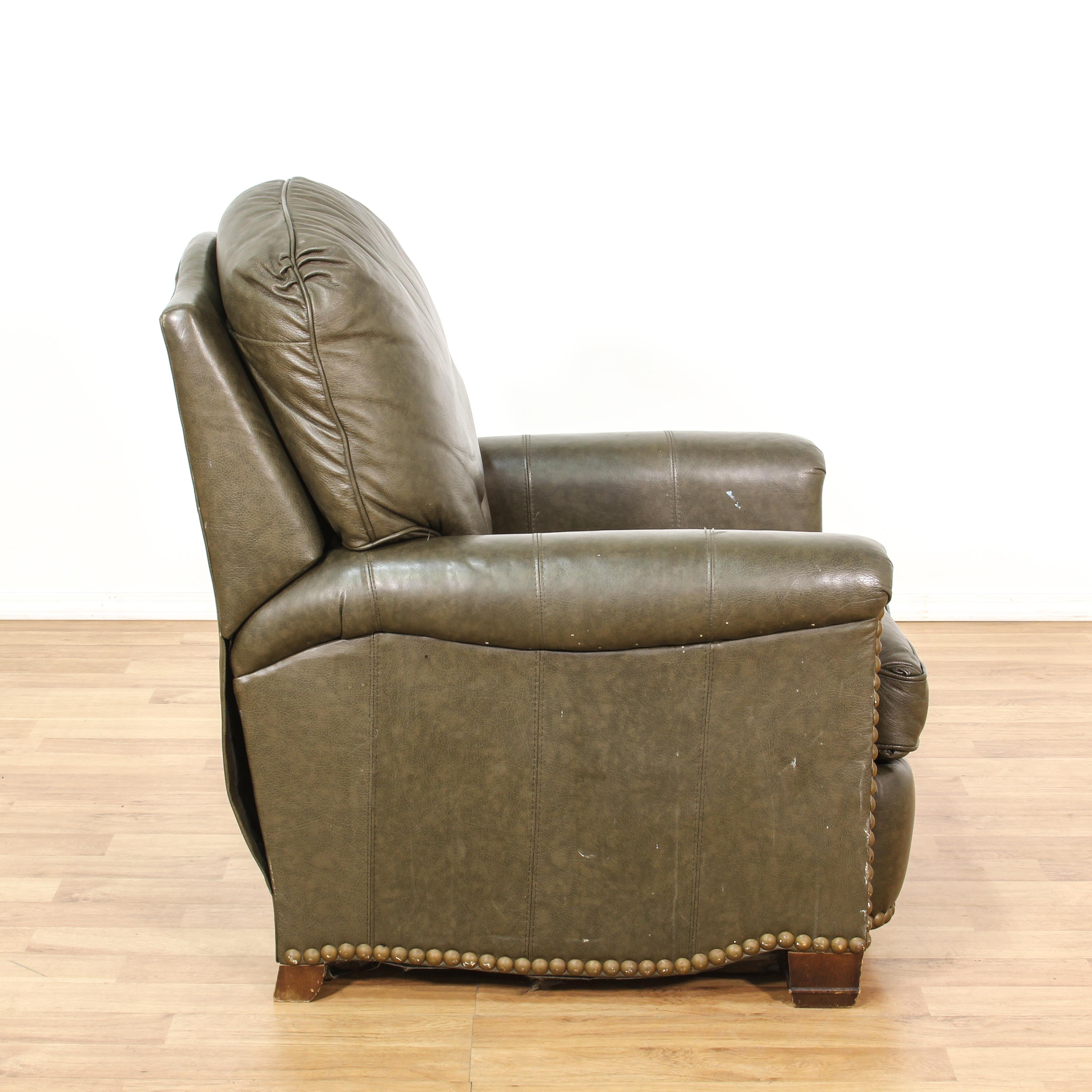 brown leather studded sofa comfort sleeper sale vinyl recliner chair loveseat