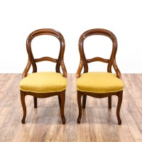 Pair of Balloon Back Parlor Chairs | Loveseat Vintage ...