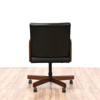 Mid Century Modern Black Vinyl Office Swivel Chair