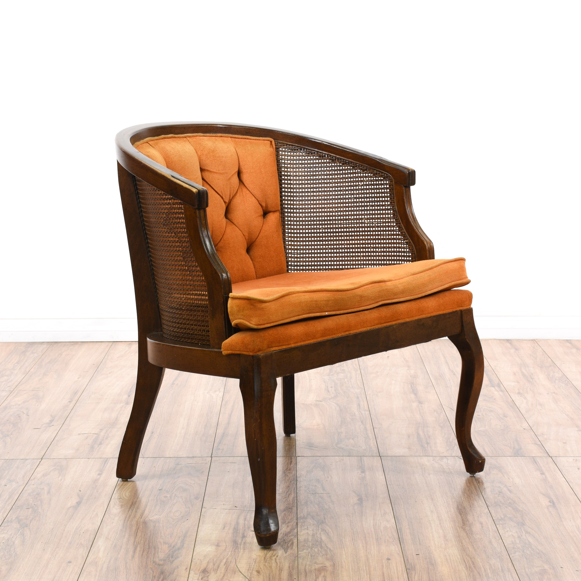 Burnt Orange Accent Chair Burnt Orange Tufted Cane Barrel Back Accent Chair