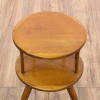 Mid Century Round Maple Tiered End Table | Loveseat ...