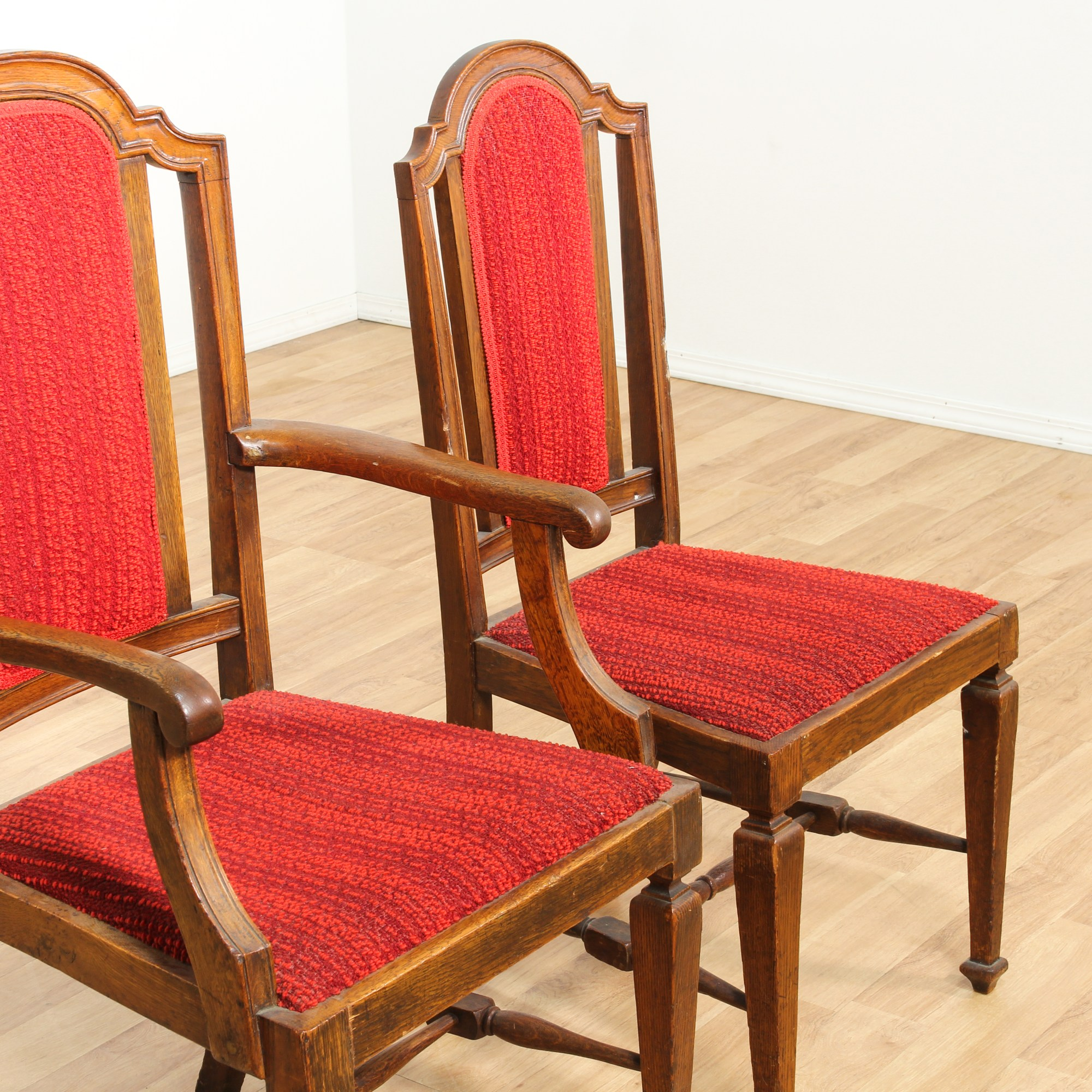 Set of 8 Red Upholstered Walnut Dining Chairs  Loveseat