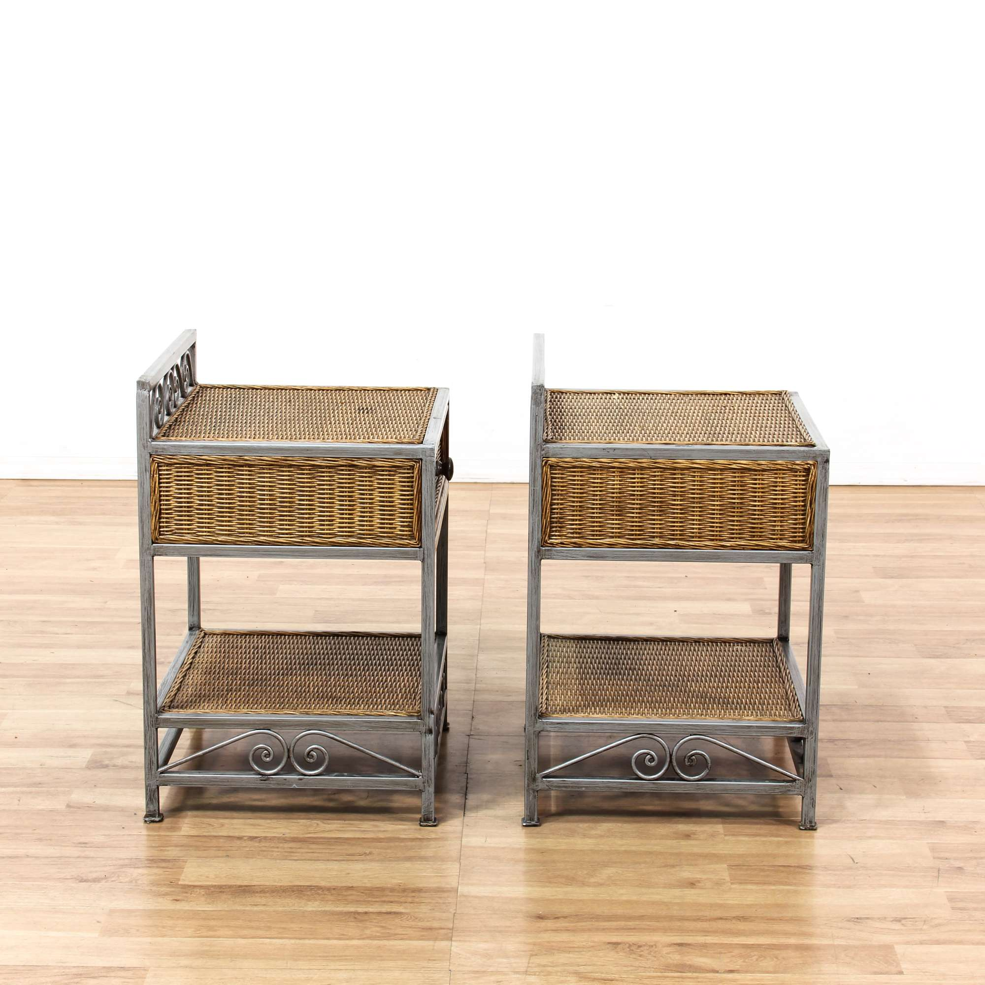 Pair Of Wicker Nightstands w/ Iron Base | Loveseat Vintage Furniture San Diego & Los Angeles