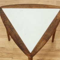 Mid Century Modern Walnut Triangle End Table | Loveseat ...