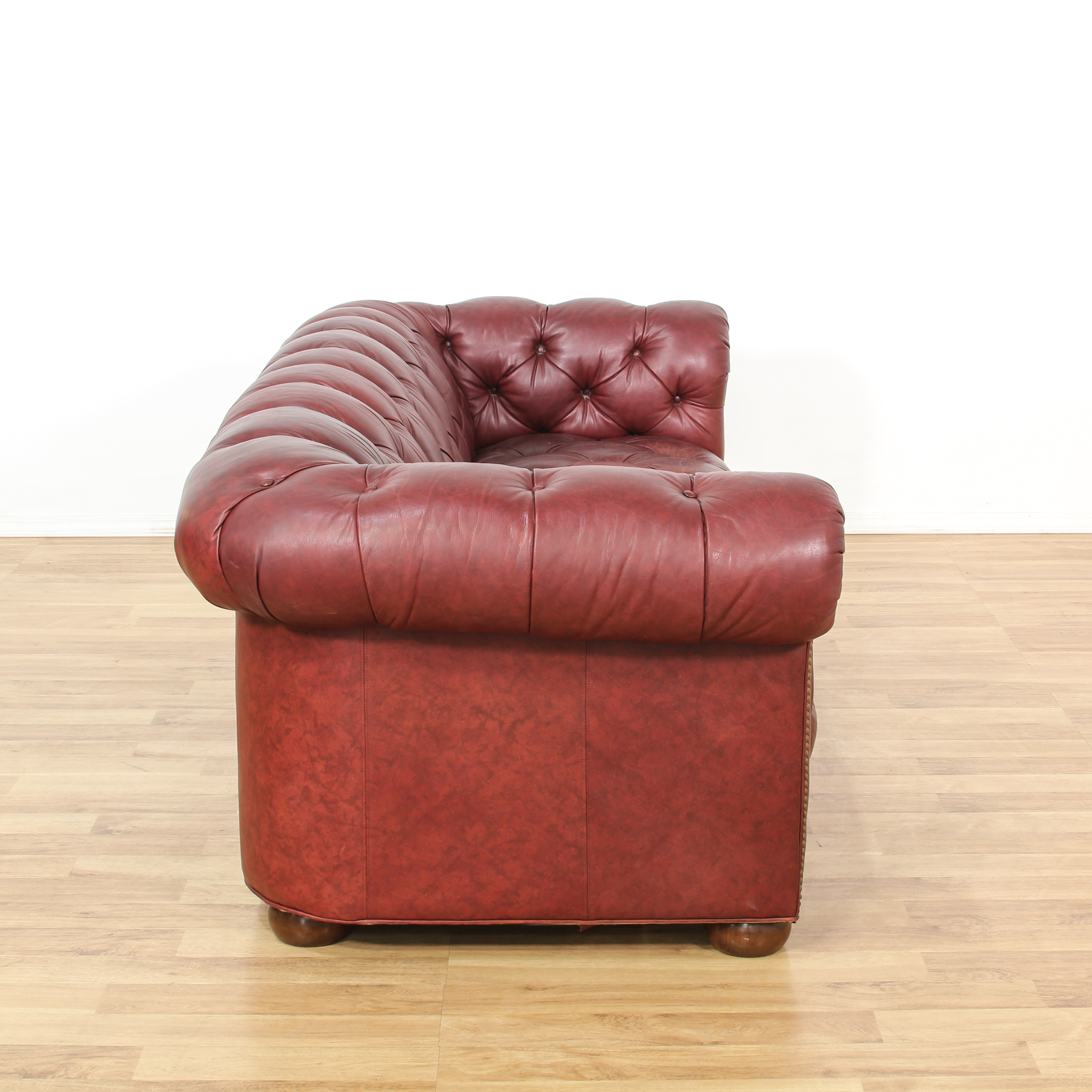 burgundy leather sofa and loveseat low profile tufted vintage furniture