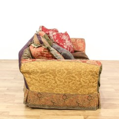 Bohemian Sofa Bed Orange Brown Slipcovered Multicolored Loveseat Vintage